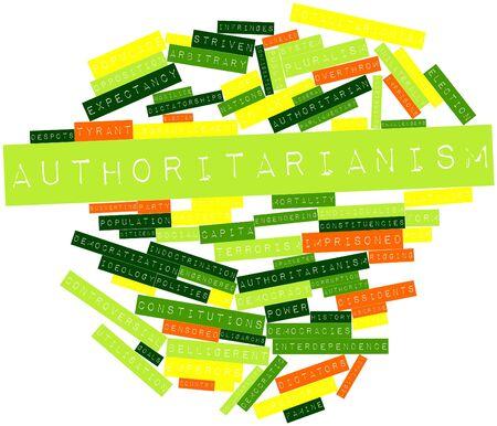 arbitrario: Nube palabra abstracta para Autoritarismo con etiquetas y términos relacionados Foto de archivo