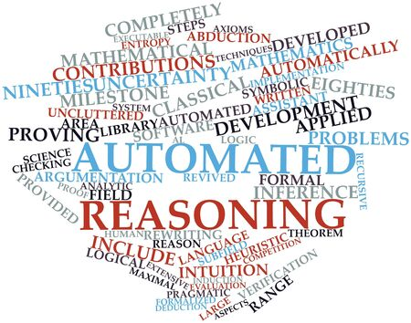 derive: Abstract word cloud for Automated reasoning with related tags and terms Stock Photo
