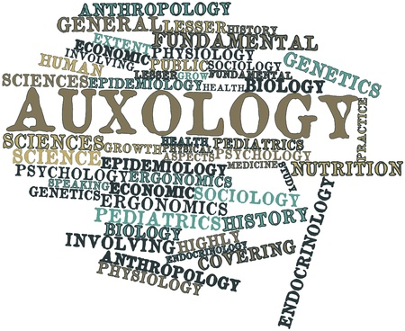ergonomics: Abstract word cloud for Auxology with related tags and terms Stock Photo