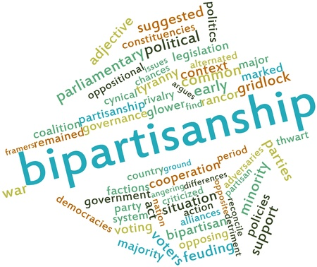glower: Abstract word cloud for Bipartisanship with related tags and terms Stock Photo