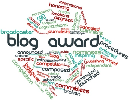 recognizes: Abstract word cloud for Blog award with related tags and terms