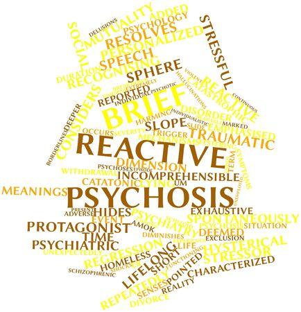 amok: Abstract cloud słowo Brief reaktywnej psychozy z powiązanych tagów oraz warunków