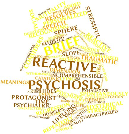 reactive: Abstract word cloud for Brief reactive psychosis with related tags and terms Stock Photo