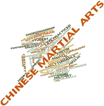 Abstrakte Wortwolke für chinesische Kampfkünste mit verwandten Tags und Begriffe