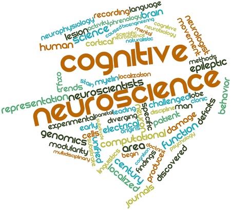 Nube palabra abstracta para neurociencia cognitiva con las etiquetas y términos relacionados