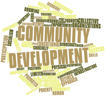 rural community: Abstract word cloud for Community development with related tags and terms Stock Photo