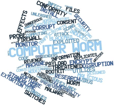 suspected: Abstract word cloud for Computer worm with related tags and terms Stock Photo