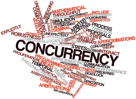 Abstract word cloud for Concurrency with related tags and terms Stock Photo - 16617606