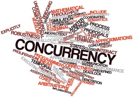 arbitrario: Nube palabra abstracta por concurrencia con las etiquetas y términos relacionados Foto de archivo