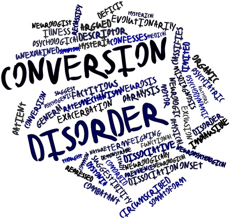 Abstract word cloud for Conversion disorder with related tags and terms Banco de Imagens