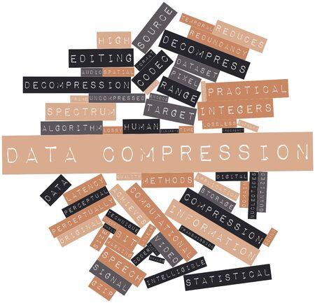 inteligible: Nube palabra abstracta para la compresión de datos con etiquetas y términos relacionados Foto de archivo