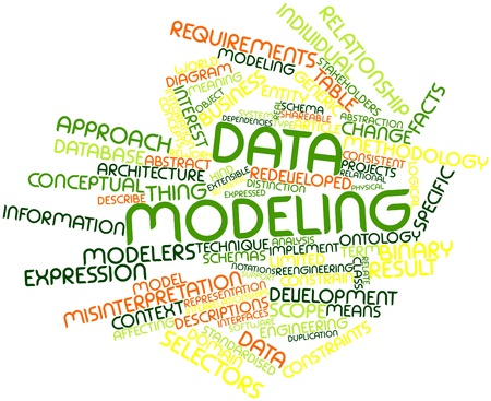 Nuage de mots abstraits pour la modélisation des données avec des étiquettes et des termes connexes Banque d'images