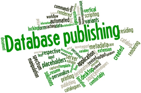 catalogues: Abstract word cloud for Database publishing with related tags and terms Stock Photo