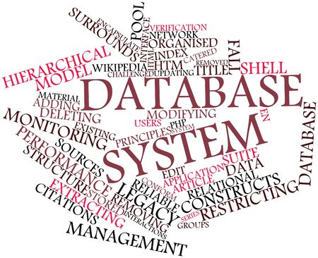 Abstract word cloud for Database system with related tags and terms Stock Photo - 16613728