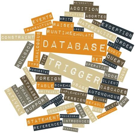 gatillo: Nube palabra abstracta para gatillo base de datos con etiquetas y términos relacionados Foto de archivo