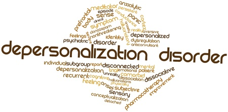 hallucinogen: Abstract word cloud for Depersonalization disorder with related tags and terms