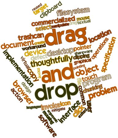 dealt: Abstract word cloud for Drag and drop with related tags and terms Stock Photo