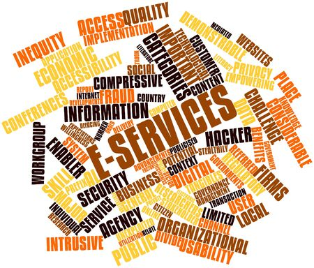 prefix: Abstract word cloud for E-Services with related tags and terms Stock Photo