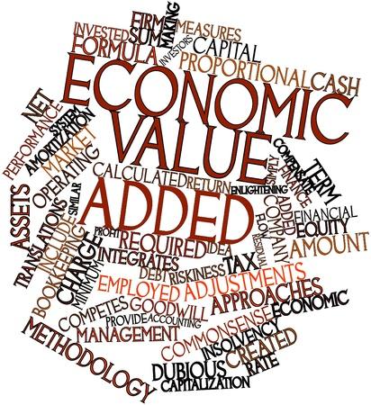 wartości: Abstract cloud słowo ekonomicznej wartości dodanej z powiązanymi tagów oraz warunków