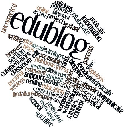 attributable: Abstract word cloud for Edublog with related tags and terms Stock Photo