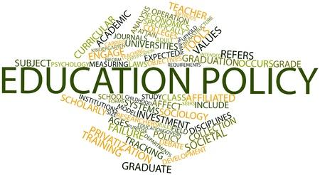 alumnos en clase: Nube palabra abstracta para la política educativa con las etiquetas y términos relacionados