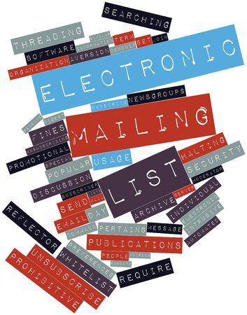 recoger: Nube palabra abstracta por lista de correo electrónico con etiquetas y términos relacionados