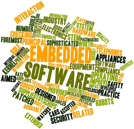 embedded: Abstract word cloud for Embedded software with related tags and terms Stock Photo