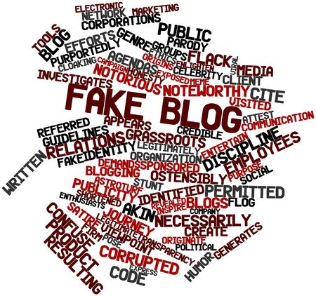 attest: Abstract word cloud for Fake blog with related tags and terms Stock Photo