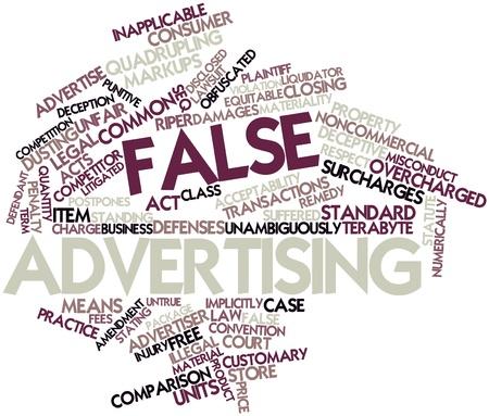 falso: Nube palabra abstracta por falsa publicidad con etiquetas y términos relacionados