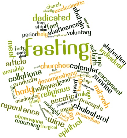 abstention: Abstract word cloud for Fasting with related tags and terms Stock Photo