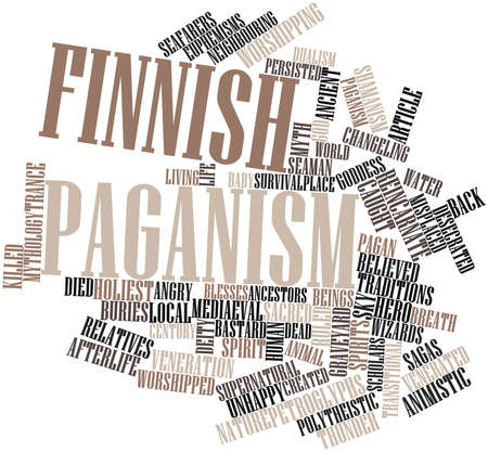 finnish: Abstract word cloud for Finnish paganism with related tags and terms
