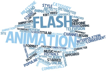 Abstract word cloud for Flash animation with related tags and terms Stock Photo - 16617499
