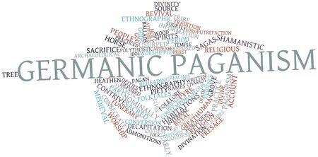 Abstract word cloud for Germanic paganism with related tags and terms