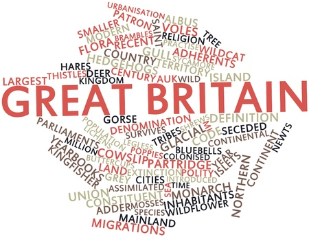 buttercups: Abstract word cloud for Great Britain with related tags and terms Stock Photo