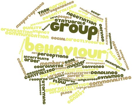 interdependence: Abstract word cloud for Group behaviour with related tags and terms Stock Photo