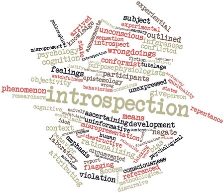 experiential: Abstract word cloud for Introspection with related tags and terms Stock Photo