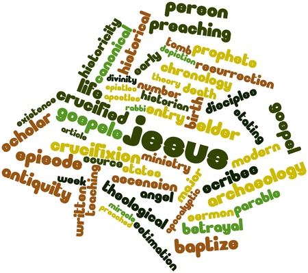 ministry: Abstract word cloud for Jesus with related tags and terms