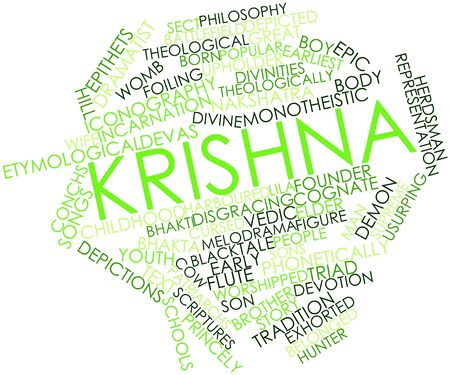 worshipped: Abstract word cloud for Krishna with related tags and terms