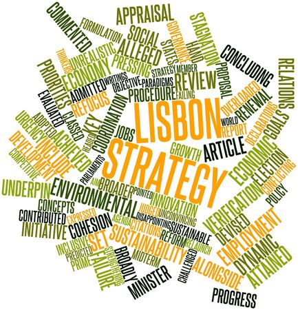 launched: Abstract word cloud for Lisbon Strategy with related tags and terms Stock Photo