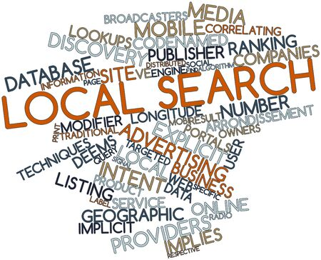 Abstract word cloud for Local search with related tags and terms photo