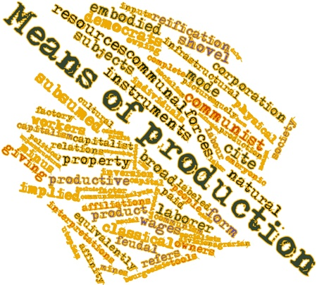 mines: Abstract word cloud for Means of production with related tags and terms Stock Photo