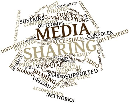 distribute: Abstract word cloud for Media sharing with related tags and terms