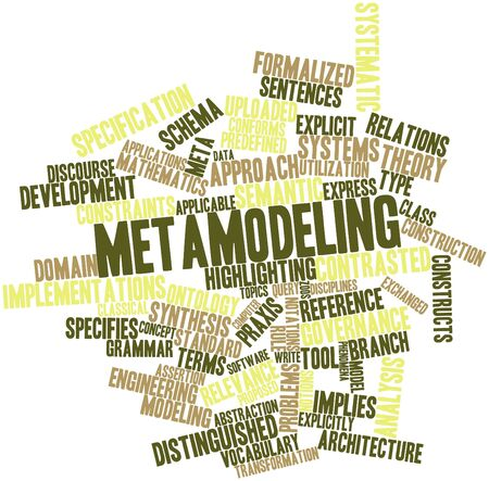Abstract word cloud for Metamodeling with related tags and terms Stock Photo - 16617573