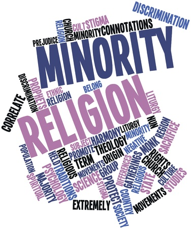 correlate: Abstract word cloud for Minority religion with related tags and terms Stock Photo
