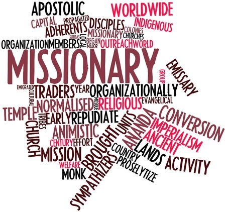 church group: Abstract word cloud for Missionary with related tags and terms Stock Photo
