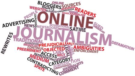 preeminent: Abstract word cloud for Online journalism with related tags and terms Stock Photo