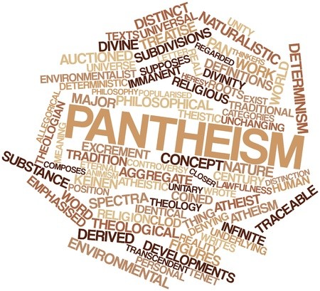deterministic: Abstract word cloud for Pantheism with related tags and terms Stock Photo