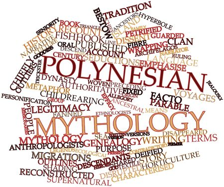 narrator: Abstract word cloud for Polynesian mythology with related tags and terms