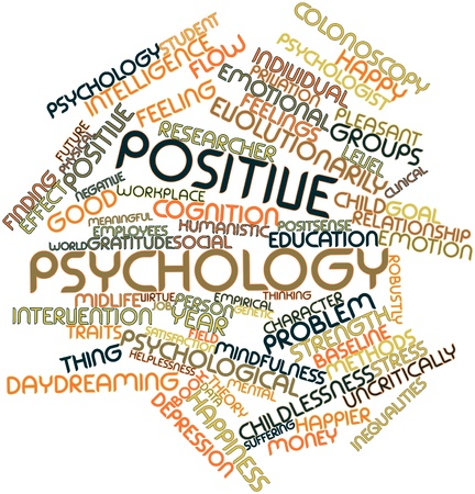 happier: Abstract word cloud for Positive psychology with related tags and terms Stock Photo