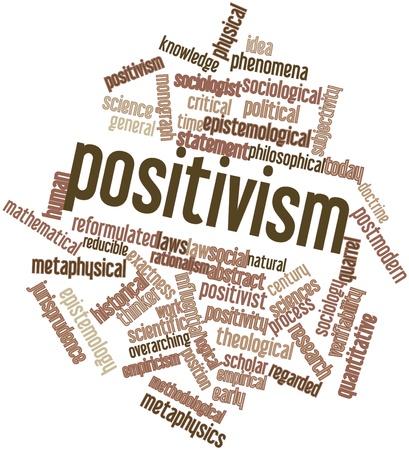 positivismo: Nube palabra abstracta para el positivismo con etiquetas y términos relacionados